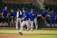 AZL Cubs third baseman Cam Balego (82) prepares to slide into home plate against the AZL Giants on September 5, 2017 at Scottsdale Stadium in Scottsdale, Arizona. AZL Cubs defeated the AZL Giants 10-4 to take a 1-0 lead in the Arizona League Championship Series. (Zachary Lucy/Four Seam Images)