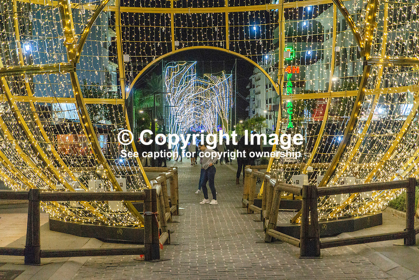 Christmas Lights, San Pedro de Alcantara, Malaga Province, Spain, November, 2018, 201811300078<br />