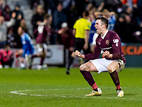 26th January 2020, Tynecastle Park, Edinburgh, Scotland; Scottish Premier League football, Hearts of Midlothian versus Rangers; Jon Souttar of Hearts celebrates the goal from Liam Boyce  in the 85th minute to make it 2-1 to Hearts
