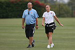 21 August 2009: Player/coach Christie Rampone (right) with assistant coach Mike Lyons (left). Sky Blue FC held a training session at the Home Depot Center in Carson, California one day before playing Los Angeles Sol in the inaugural Women's Professional Soccer Championship Game.