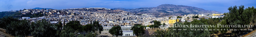 Morocco. Panorama. The medina in Fes, Fes el Bali, is on UNESCO's World Heritage Site list.