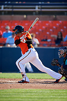 Frederick Keys third baseman Jomar Reyes (3B) hits a single during the first game of a doubleheader against the Lynchburg Hillcats on June 12, 2018 at Nymeo Field at Harry Grove Stadium in Frederick, Maryland.  Frederick defeated Lynchburg 2-1.  (Mike Janes/Four Seam Images)