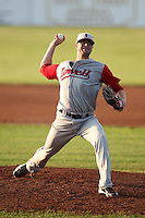 Lowell Spinners Pitcher Seth Garrison during a game vs. the Batavia Muckdogs at Dwyer Stadium in Batavia, New York July 14, 2010.   Batavia defeated Lowell 12-2.  Photo By Mike Janes/Four Seam Images