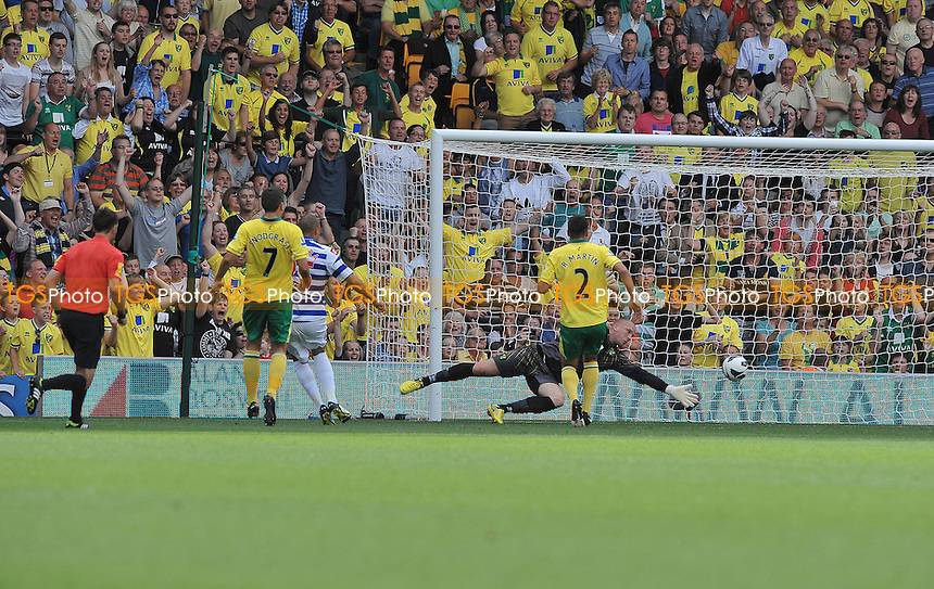 Bobby Zamora of Queens Park Rangers scores the equaliser - Norwich City vs Queen's Park Rangers - Barclays Premier League Football at Carrow Road, Norwich, Norfolk -25/08/2012 - MANDATORY CREDIT: Martin Dalton/TGSPHOTO - Self billing applies where appropriate - 0845 094 6026 - contact@tgsphoto.co.uk - NO UNPAID USE.