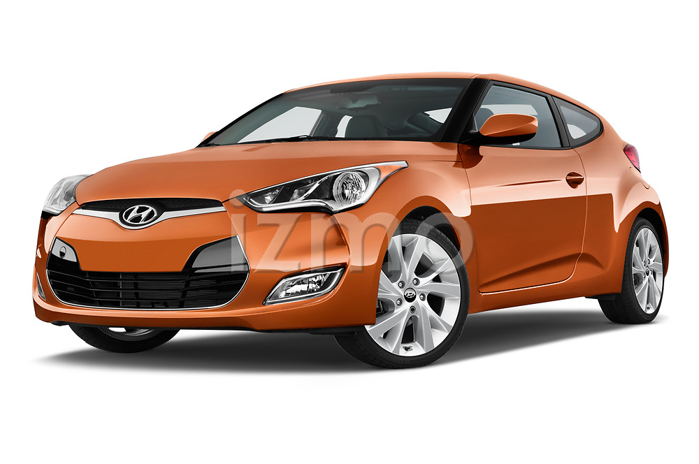 Stock pictures of low aggressive front three quarter view of 2017 Hyundai Veloster Manual 5 Door Hatchback Low Aggressive