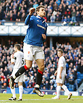 Nikica Jelavic celebrates his quick fire second and Rangers third goal
