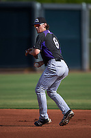 Colorado Rockies shorstop Brendan Rodgers (8) during practice before an instructional league game against the SK Wyverns on October 10, 2015 at the Salt River Fields at Talking Stick in Scottsdale, Arizona.  (Mike Janes/Four Seam Images)