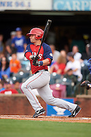 Hagerstown Suns third baseman Grant DeBruin (12) at bat during a game against the Lexington Legends on May 22, 2015 at Whitaker Bank Ballpark in Lexington, Kentucky.  Lexington defeated Hagerstown 5-1.  (Mike Janes/Four Seam Images)