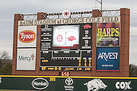 Scoreboard at Baum Stadium during the NCAA baseball game against the Alabama Crimson Tide on March 21, 2014 in Fayetteville, Arkansas.  The Alabama Crimson Tide defeated the Arkansas Razorbacks 17-9.  (William Purnell/Four Seam Images)