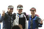 (L-R) Samjeev Rajput (IND), Hui Zicheng (CHN),   Takayuki Matsumoto (JPN), <br /> AUGUST 21, 2018 - Shooting - Rifle : <br /> Men's 50m Rifle 3 Positions Final<br /> at Jakabaring Sport Center Shooting Range <br /> during the 2018 Jakarta Palembang Asian Games <br /> in Palembang, Indonesia. <br /> (Photo by Yohei Osada/AFLO SPORT)