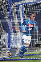 Arkadiusz Milik of Napoli celebrates after scoring opening goal for his side <br /> Napoli 13-01-2019  Stadio San Paolo <br /> Football Calcio Coppa Italia 2018/2019 round of 16  <br /> Napoli - Sassuolo<br /> Foto Cesare Purini / Insidefoto