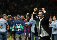 Calcio, finale di Champions League Juventus vs Barcellona all'Olympiastadion di Berlino, 6 giugno 2015.<br /> FC Barcelona's coach Luis Enrique celebrates at the end of the Champions League football final between Juventus Turin and FC Barcelona, at Berlin's Olympiastadion, 6 June 2015. Barcelona won 3-1.<br /> UPDATE IMAGES PRESS/Isabella Bonotto