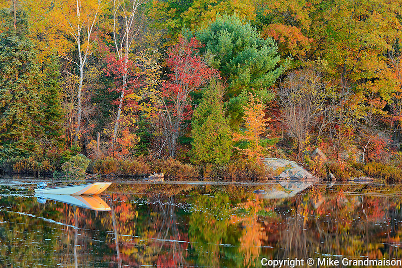 Boat on Raven Lake in autumn <br /> Raven Lake near Dorset<br /> Ontario<br /> Canada