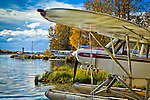 Float planes at Lake Hood Seaplane Base, Anchorage, Southcentral Alaska on a sunny day in Autumn.