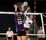 SIOUX FALLS, SD - OCTOBER 14: Sydney Hunsley #8 from Augustana tries to tip the ball past Michelle Ritland #12 from the University of Sioux Falls in the second game of their match Tuesday night at the Elmen Center. (Photo by Dave Eggen/Inertia)