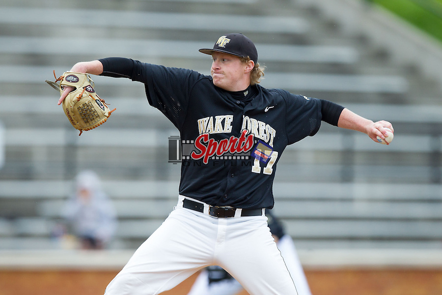 Wake Forest Demon Deacons starting pitcher John McLeod (17) delivers a pitch to the plate against the Florida State Seminoles at Wake Forest Baseball Park on April 19, 2014 in Winston-Salem, North Carolina.  The Seminoles defeated the Demon Deacons 4-3 in 13 innings.  (Brian Westerholt/Sports On Film)