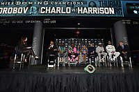 BROOKLYN, NY - DECEMBER 20: (L-R) Presenter Heidi Androl talks with boxers Dominc Breazeale, Jermell Charlo, Jermall Charlo, Matt Korobov, Tony Harrison and Carlos Negorn on stage as they attend the Premier Boxing Champions press conference for the December 22 Fox PBC Fight Night at the Barclay Center on December 20, 2018 in Brooklyn, New York. (Photo by Anthony Behar/Fox Sports/PictureGroup)