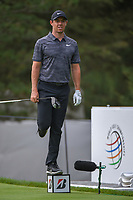 Rory McIlroy (NIR) stands on a tee box marker to ensure the 13th is clear before his tee shot during 1st round of the World Golf Championships - Bridgestone Invitational, at the Firestone Country Club, Akron, Ohio. 8/2/2018.<br /> Picture: Golffile | Ken Murray<br /> <br /> <br /> All photo usage must carry mandatory copyright credit (© Golffile | Ken Murray)