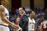 NWA Democrat-Gazette/CHARLIE KAIJO Indiana Hoosiers head coach Archie Miller prepares to talk to his players during the first half of the NCAA National Invitation Tournament, Saturday, March 23, 2019 at the Simon Skjodt Assembly Hall at the University of Indiana in Bloomington, Ind. The Arkansas Razorbacks fell to the Indiana Hoosiers 63-60.