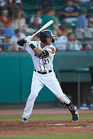 Down East Wood Ducks third baseman Diosbel Arias (21) at bat against the Winston-Salem Dash at Grainger Stadium Field on May 17, 2019 in Kinston, North Carolina. The Dash defeated the Wood Ducks 8-2. (Brian Westerholt/Four Seam Images)