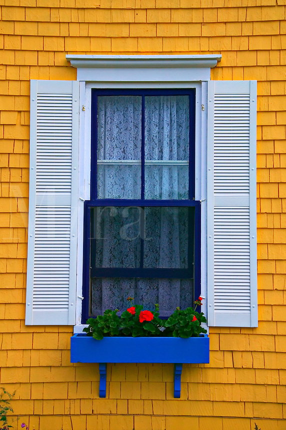 window with planter box, Nova Scotia; Canada