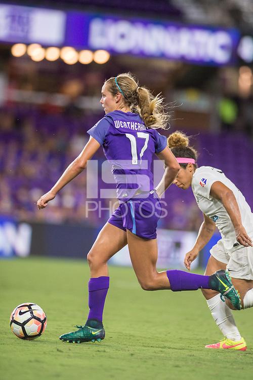 Orlando, FL - Saturday July 15, 2017: Dani Weatherholt during a regular season National Women's Soccer League (NWSL) match between the Orlando Pride and FC Kansas City at Orlando City Stadium.