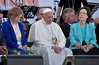 Pope Francis  Michelle Moran presidente delll'International Catholic Charismatic Renewal Service (ICCRS)Patti Mansfield during The Golden Jubilee of the Catholic Charismatic Reneval at the Circo Massimo in Rome, Italy on June 3, 2017