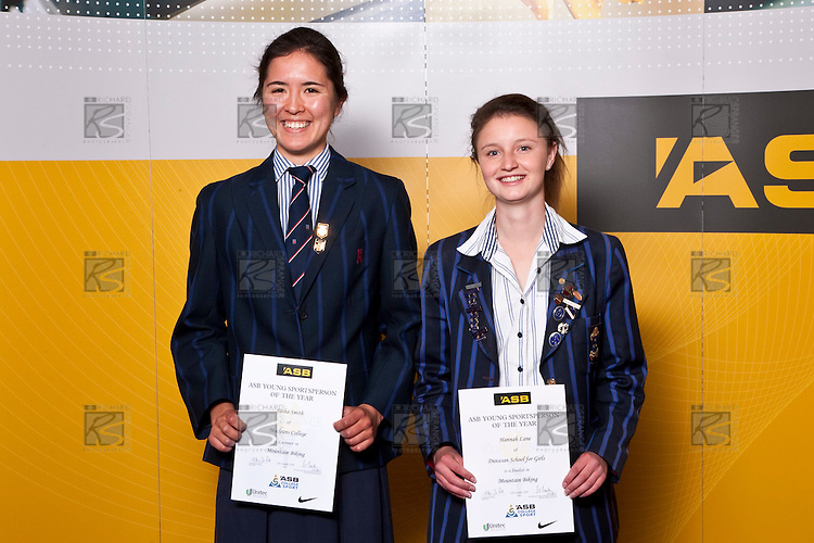 Girls Mountain Biking finalists Sasha Smith & Hannah Lane. ASB College Sport Auckland Secondary School Young Sports Person of the Year Awards held at Eden Park on Thursday 12th of September 2009.