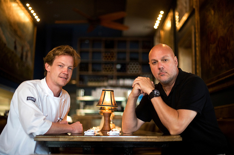 Robert Wood, executive chef of Chesapeake Room, left, and owner Xavier Cervera, are photographed in the establishment located on Barracks Row, June 15, 2010.