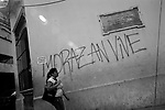 """Tegucigalpa (Honduras). November, 2009..The walls of the city show many graffitti referring the current political crisis. This is the house where Francisco Morazan, (a Central American statesman), was born, with a graffitti which says: """"Morazan lives""""."""