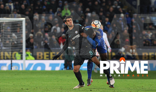 Alvaro Morata of Chelsea & Wes Morgan of Leicester City  during the FA Cup QF match between Leicester City and Chelsea at the King Power Stadium, Leicester, England on 18 March 2018. Photo by Stephen Buckley / PRiME Media Images.