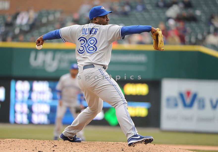 Toronto Blue Jays Darren Oliver (38) during a game against the Detroit Tigers on April 9, 2013 at Comerica Park in Detroit, MI. The Tigers beat the Blue Jays 7-3.