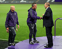 Pictured: (L-R) Swansea coaches John Toshack and Gary Richards receive medals after the game Monday 15 May 2017<br />