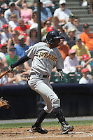 Trenton Thunder infielder Yadil Mujica #11 at bat during a game against the Richmond Flying Squirrels at The Diamond on May 27, 2012 in Richmond, Virginia. Richmond defeated Trenton by the score of 5-2. (Robert Gurganus/Four Seam Images)
