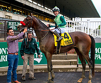 ELMONT, NY -MAY 12: Blended Citizen,#4, ridden by jockey Kyle Frey, wins the Peter Pan Stakes on  at Belmont Park on May 12, 2018 in Elmont, New York. (Photo by Lynn Hildenbrand/Eclipse Sportswire/Getty Images)