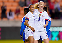 HOUSTON, TX - JANUARY 28: Lynn Williams #13 of the United States celebrates with teammate Samantha Mewis #3 during a game between Haiti and USWNT at BBVA Stadium on January 28, 2020 in Houston, Texas.