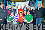 RUtegeic Development offr ITYT0GBY:IT TRalee/and Munster Rugby collabrative partnership Official launch at Solas Building IT Tralee on Tuesday. Front l-r: Steve Galvin, Paddy O'Neill, Darragh Kennelly, Stephen Heaney and Martin Stack. Back l-r: Tim Daly (Strategic Development manager ITT), Denis Griffin (Munster Rugby), Ray Gadsden (Munster Rugby), Joe O'Connor (ITT Health Dept), JJ Hanrahan (Munster Rugby), Williams Evans, (ITT), Kristine Sheehan(Sports offrs ITT), Mike Keane (Tralee Rugby), and JJ Galvin.