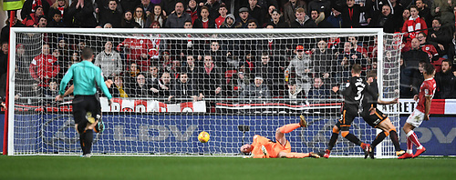 30th December 2017, Ashton Gate, Bristol, England; EFL Championship football, Bristol City versus Wolverhampton Wanderers; Bobby Reid of Bristol City shoots and scores the first goal in the 53rd minute