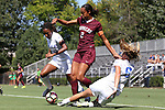 04 September 2016: Minnesota's Simone Kolander (2) is defended by Duke's Lizzy Raben (6) and Mia Gyau (20). The Duke University Blue Devils hosted the University of Minnesota Golden Gophers at Koskinen Stadium in Durham, North Carolina in a 2016 NCAA Division I Women's Soccer match. Duke won the game 1-0.