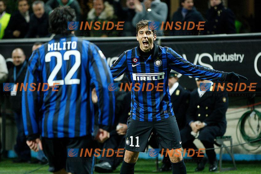 """Esultanza di Ricardo Alvarez Inter..Celebration..Milano 07/01/2012 Stadio """"S.Siro""""..Football / Calcio Serie A 2011/2012..Inter vs Parma..Foto Paolo Nucci Insidefoto"""