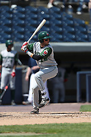Fort Wayne TinCaps third baseman Hudson Potts (20) at bat against the West Michigan Michigan Whitecaps during the Midwest League baseball game on April 26, 2017 at Fifth Third Ballpark in Comstock Park, Michigan. West Michigan defeated Fort Wayne 8-2. (Andrew Woolley/Four Seam Images)