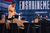 Canton, Ohio - August 3, 2019: Kevin Mawae gets emotional during his enshrinement speech at the Tom Benson Hall of Fame Stadium in Canton, Ohio August 3, 2019 after his induction into the Pro Football Hall of Fame.  (Photo by Don Baxter/Media Images International)