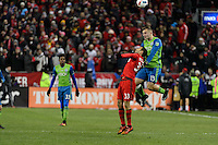 Toronto, ON, Canada - Saturday Dec. 10, 2016: Steven Beitashour, Jordan Morris during the MLS Cup finals at BMO Field. The Seattle Sounders FC defeated Toronto FC on penalty kicks after playing a scoreless game.