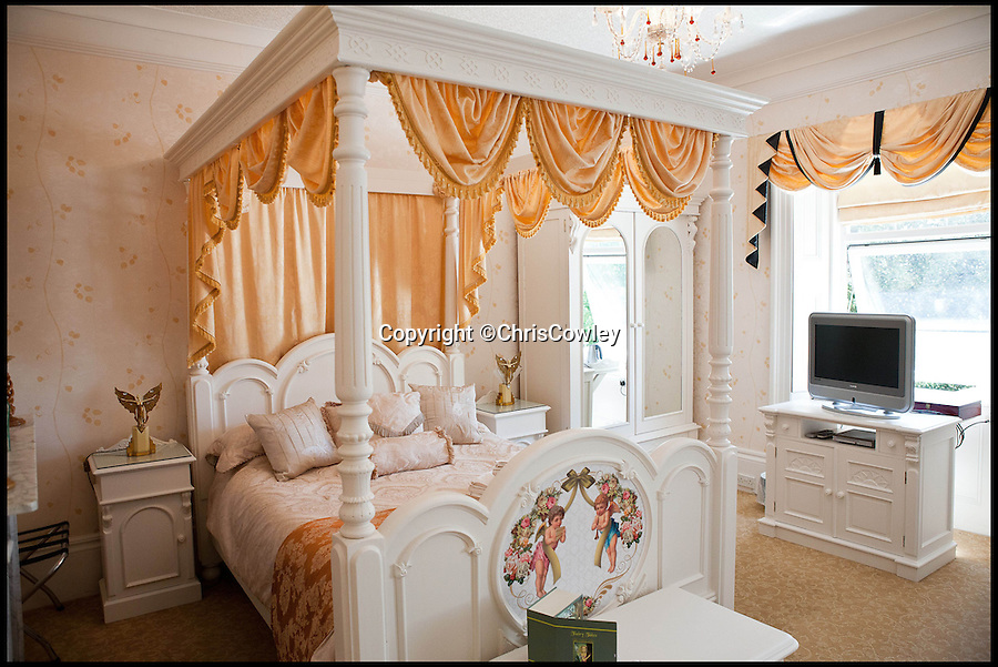 BNPS.co.uk (01202 558833)<br /> Pic: ChrisCowley/EnchantedManor/BNPS<br /> <br /> **Please use full byline**<br /> <br /> A double bedroom.<br /> <br /> Sleeping Beauties and Cinderallas take note - make a wish and this luxury fairytale hotel could be yours for a cool £1.5 million.<br /> <br /> With 11 sumptuous suites - all of which are decked out in fairtytale style with four-poster beds - the Enchanted Manor is the stuff dreams are made of.<br /> <br /> Coupled with idyllic sea views, the unique 5* property near Niton on the Isle of Wight has become a bolthole for couples seeking fairytale romance.<br /> <br /> Once a historic Victorian manor house, owners Ric and Maggie Hilton set about creating their dream come true after saving the grand building from ruin in 2006.<br /> <br /> The property is being on the market for £1.5 million with property guru Sarah Beeny's online estate agents Tepilo.