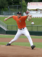 July 25, 2004:  Pitcher Scott Baker of the Rochester Red Wings, Triple-A International League affiliate of the Minnesota Twins, during a game at Frontier Field in Rochester, NY.  Photo by:  Mike Janes/Four Seam Images