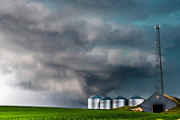A tornadic storm moving across the farm fields of Idaho Falls Idaho.