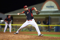 Batavia Muckdogs relief pitcher Brent Wheatley (23) delivers a pitch during a game against the Tri-City ValleyCats on July 15, 2017 at Dwyer Stadium in Batavia, New York.  Tri-City defeated Batavia 5-4.  (Mike Janes/Four Seam Images)