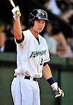 15 July 2010: Vermont Lake Monsters' infielder Ronnie LaBrie on deck against the Aberdeen IronBirds at Centennial Field in Burlington, Vermont. The Lake Monsters rallied in the bottom of the 9th inning to defeat the IronBirds 7-6 notching their league leading 20th win of the 2010 NY Penn League season. Mandatory Credit: Ed Wolfstein Photo