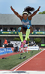 Catherine Ibarguen of Colombia takes a jump on her way to winning the Women's Triple Jump on the final day of the Prefontaine Classic at Hayward Field in Eugene, Oregon, USA, 30 MAY 2015. (EPA photo by Steve Dykes)