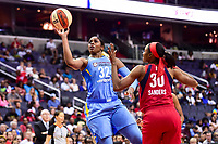 Washington, DC - July 13, 2018: Chicago Sky forward Cheyenne Parker (32) goes up for a shot over Washington Mystics forward LaToya Sanders (30) during game between the Washington Mystics and Chicago Sky at the Capital One Arena in Washington, DC. The Mystics defeat the Sky 88-72 (Photo by Phil Peters/Media Images International)